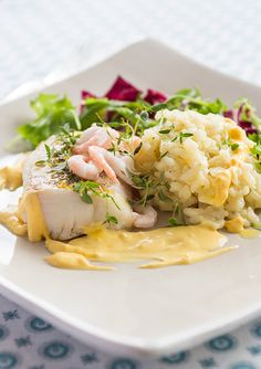 Cod with orange and thyme, saffron sauce and risotto. (Apelsinfisk med timjan, saffranssås och risotto.)