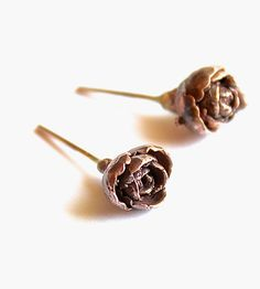 Rose Bud Bronze Earrings