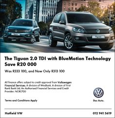Save R20 000 on a Volkswagen Tiguan 2.0 TDI with BlueMotion Technology. Was R333 100, and now available for R313 100. T&C Apply