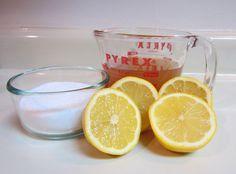 Lemon foot soak  10 c. hot water, 1 c. apple cider vinegar, 1/2 c. salt, and 2 fresh squeezed lemons.
