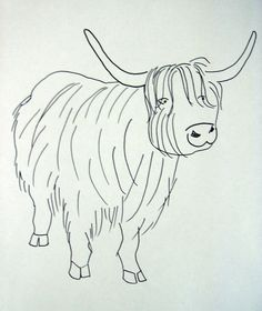 Highland Cow Embroidery Pattern