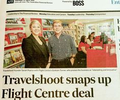 """Big announcement day for Travelshoot - courtesy of the Australian Financial Review today we can reveal a global partnership with the Flight Centre Travel Group kicks off this month! Founder Sarah Pearce put it simply """"we are so excited to partner with this iconic Australian travel giant and can't wait to help customers capture holiday memories on a global level"""""""
