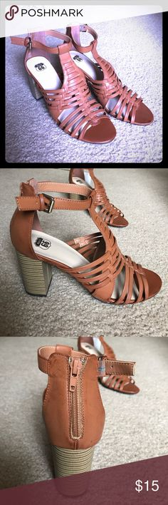 Open Toe T-Strap Heels Open toe strapped sandal with a r-strap and zip up heel Route 66 Shoes Heels