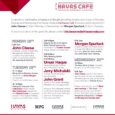 Our agenda at at the Havas Cafe. Cannes