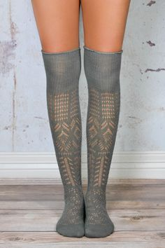 competitive price eb246 28d8a Grey Thigh High Patterned Boot Socks