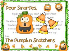 The Pumpkin Snatchers leave a candy corn trail as they hunt for letters they love to eat. This is a fun adventure in spelling short vowel words.