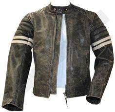 NUOVO BRANDO Classic Biker Black /& White Vintage Motocicletta Giacca in Vera Pelle