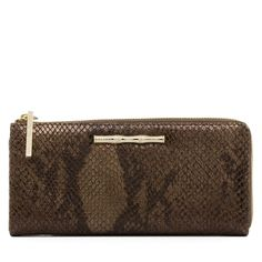 Chocolate Python Leather Slim Zip Wallet Rich chocolate python and gilded bamboo accents are just two reasons why we love the Slim Zip Wallet. Its sophisticated style and secure interior make this one of the season's favorite accessories.