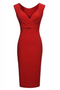 Love this Dress! When in Doubt wear RED! Sexy Red V-neck Sleeveless Bodycon Party Dress #Sexy #Red #Party #Dress #Fashion
