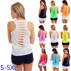 S-5XL 8 Colors 2017 Europe and America Style Women's Sexy Hollow Out Hole U Neck Sleeveless Tanks Plus Shirt Tops BX501 #Affiliate
