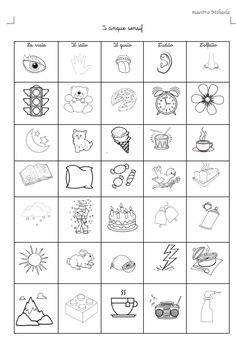I cinque sensi, classe prima – Maestra Mihaela Cutting Activities, Toddler Learning Activities, Preschool Activities, Body Preschool, Preschool Prep, Five Senses Kindergarten, 2nd Grade Writing, Science Experiments Kids, Worksheets For Kids