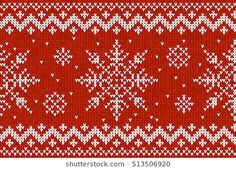White vector knitted snowflakes on red knit background Knitting Patterns Free, Free Knitting, Stitch Doll, Filet Crochet, Textured Background, Sock, Cross Stitch Patterns, Knits, Snowflakes