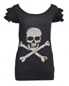 Warm Pixie Skull and Crossbones Ruffle Sleeve Jumper