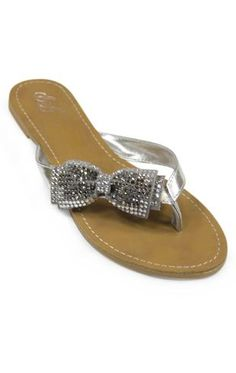 sandal with rhinestone bow $22.50