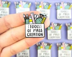 Tools of Mass Creation Hard Enamel Pin - Pin for Makers - Pencil case pin - Art Materials Lapel Pin - A pin for designers, painters knitters Pin Art, Cool Pins, Hard Enamel Pin, Pin And Patches, Gothic Jewelry, Up Girl, Pin Badges, Knitting Needles, Lapel Pins