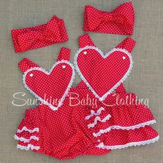 Vintage retro Heart Romper dress baby toddler pinup rockabilly girl in Red Polka Dot with Lace handmade by Sunshine Baby Clothing USA