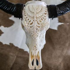 Buffalo Skull - Tribal Carving - Check out our amazing selection of Buffalo Skulls, especially our Tribal Carvings!