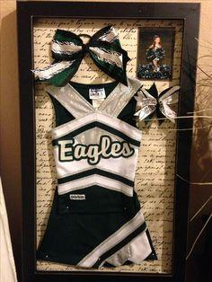 Cheerleader shadow box. Do this with JTC uniform?