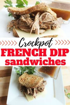 Delicious Crockpot French dip sandwiches make the perfect fall or winter dinner. Great for using leftover beef roast. Quick Lunch Recipes, Sunday Recipes, Delicious Dinner Recipes, Slow Cooker Recipes, Crockpot Recipes, Beef Rump Roast, Leftover Prime Rib, French Dip, Different Recipes