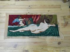 Your place to buy and sell all things handmade Needlepoint Canvases, Tapestries, French Vintage, Female Art, One Pic, Hand Stitching, Wall Tapestry, Fiber Art, Naked
