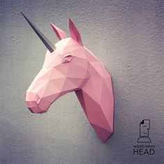 Papercraft unicorn head  printable DIY template