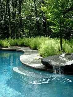 Small rock ledge waterfall