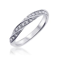 Alliance or blanc diamant Amoureuse - Alliance de Mariage en Or 510€