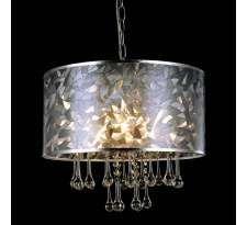 LAMPA wisząca CLEO MDM2027/3 Italux abażurowa OPRAWA zwis z kryształami krople crystal chrom perłowy