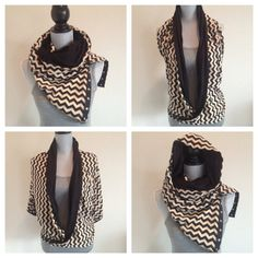 Reversible jersey snap scarf in black/taupe mini by TheTeaRex, $48.00