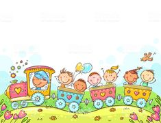 Happy Kids travelling by train, multicolor vector illustration