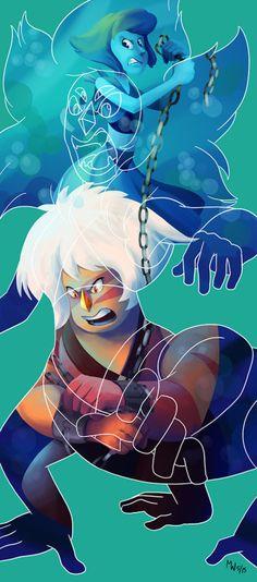 Aaand the last one for the print series…Lapis and Jasper, as Malachite!———-Fusion series:Opal | Sugilite | Alexandrite | Garnet | Stevonnie | Malachite | Rainbow Quartz | Sardonyx