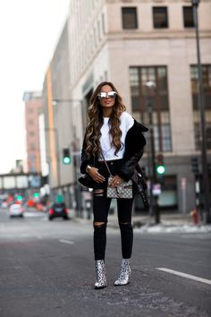 15 MAR, 2018 These Booties Will Elevate Any Outfit - Outfit Details: Tony Bianco Snakeskin Booties H&M Biker Jacket Hanes Crop Tee Topshop Black Ripped Denim Gucci Dionysus Mini Bag Quay Sunglasses Nordstrom Rack Curved Ring Nordstrom Rack Double X Ring Rebecca Minkoff Handcuff Bracelet