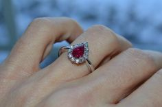 Burmese Pear Cut Natural Ruby .96ct and Natural Round Diamonds .37ct Ring Size 6 Wedding, Engagament, Anniversary Ring on Etsy, $1,690.00