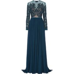 Elie Saab Embellished tulle and silk-chiffon gown ($7,855) ❤ liked on Polyvore featuring dresses, gowns, elie saab, dresses/gowns, gown, blue ball gown, peacock dress, navy gown, blue gown and women dresses