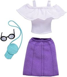 Barbie Complete Look Fashion Doll Outfit - Ruffle Top and Purple Skirt Barbie Doll Set, Barbie Sets, Mattel Barbie, Look Fashion, Skirt Fashion, Fashion Outfits, Fashion Clothes, Barbie Fashionista Dolls, Purple Skirt