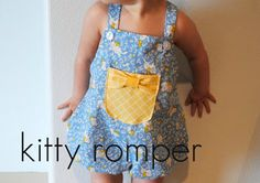 Love the pocket/bow detail hart + sew | Vintage Baby Clothing: Sewing/DIY