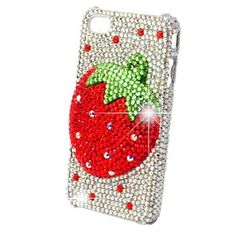Luxurious Elegant Shiny Strawberry Crystals Rhinestones-crowded Back Cover Back Protective Case for iPhone4/4S