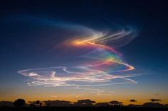 Extremely rare atmospheric phenomenon called rainbow bridge or circumhorizontal arc: when the sun is at least above horizon and ice crystals in clouds form rainbows. All Nature, Science And Nature, Amazing Nature, Beautiful Sky, Beautiful World, Nature Pictures, Cool Pictures, Fire Rainbow, Rainbow Bridge