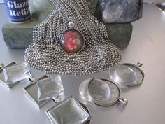 Supplies for DIY Photo Pendant Charm by trusted, $14.00 use clockface and our monograms or names, date. Attach a wineglass charm and attach to wineglasses for the toast.