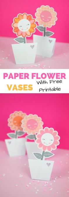 Paper Flower Vases with Free Printable. Adorable spring craft or for Mother's Day and kids to make. #kidscraft #kidsart #freeprintable #mothersday #flowers #papercraft #papercrafting