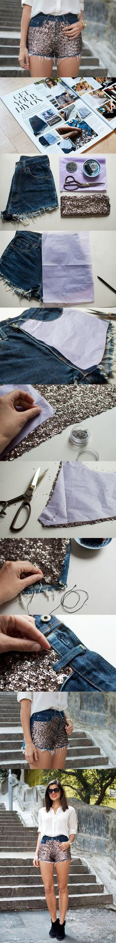 15 Brilliant DIY Ideas to Revamp Your Old Shorts for the summer, this one has sequins.   <3 @benitathediva