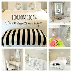 Great budget bedroom decorating Ideas! Create a designer room on a thrift store budget!