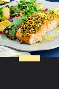 This Baked Keto and Paleo Pistachio-Crusted Salmon has a crunchy crust and pungent flavours of lemon and mustard. A pistachio crust keeps the salmon moist and tender. Amazing flavours, ready in 30 minutes or less! #salmon #nutcrusted #pistachio #keto #paleo