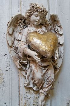 Angel sculpture hand painted distressed by AnitaSperoDesign, $115.00