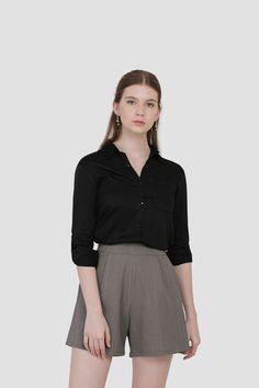 One Pocket Shirt in Black Short Dresses, Pocket, Spring, Shirts, Clothes, Black, Women, Fashion, Short Gowns