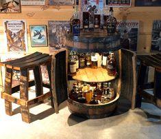 Bourbon barrel display case with doors. Wine Barrel Dog Bed, Barrel Bar, Bourbon Barrel, Bourbon Whiskey, The Doors, Jim Beam, Display Shelves, Display Case, Home Cocktail Bar