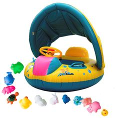 iGoods Safe Baby Pool Floats Floaties with Sun Canopy, Inflatable Infant Toddler Kids Child Swim Swimming Rings, Water Floatation Device,Safety Baby Pool Seat Boat Toys Bath with Sunshade Aids. {Special Offer, $4 OFF, Only $20.99} FUN WATER PARENT-CHILDREN INTERATION! iGoods® Baby Floats provide a great way for both parents and infants enjoying summer time while improving toddlers'environmental adapility and new skill leaning, good choice for baby swimming leaning class and summer…