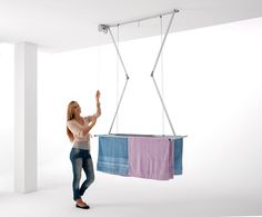 Ceiling Mounted Pulley Clothes Airer, Clothes drying rack, Airer Foxydry Mini 120, vertical folding laundry drying rack: Amazon.co.uk: Kitchen & Home