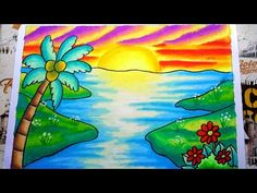 Animal Art Projects, Craft Projects, Easy Nature Drawings, Sunsets, Pastel, Wallpaper, Crafts, Beach, Painting