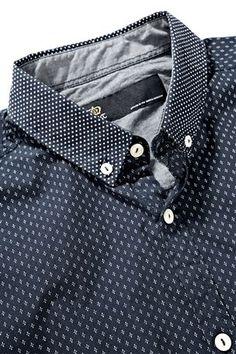 Buy Blue Smart Print Shirt from the Next UK online shop Camisa Caballero 7300328f8348b